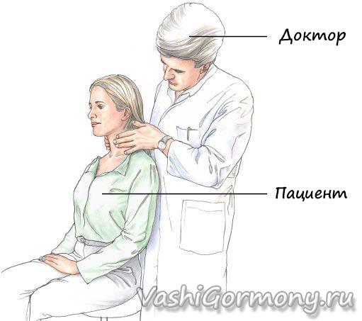 Картинка - пальпация щитовидной железы